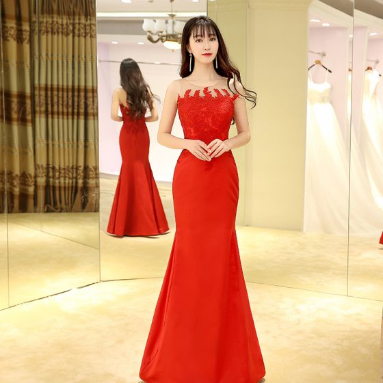 Chinese style Red Evening Dresses  2017 Trumpet / Mermaid Floor-Length / Long Scoop Neck Sleeveless Lace Appliques Pierced Formal Dresses