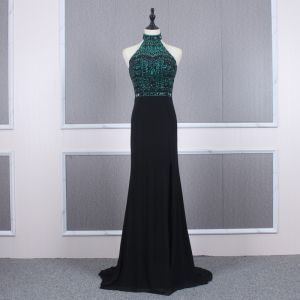 Fashion Black Evening Dresses  2020 Trumpet / Mermaid High Neck Sleeveless Dark Green Beading Rhinestone Sweep Train Ruffle Backless Formal Dresses