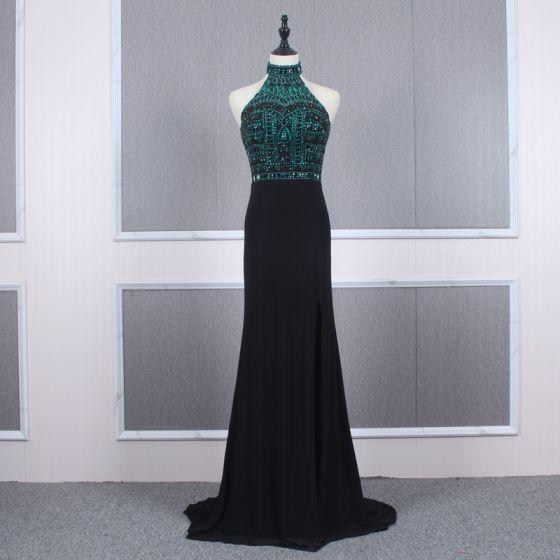 Fashion Black Evening Dresses  2020 Trumpet / Mermaid High Neck Sleeveless Dark Green Beading Rhinestone Sweep Train Ruffle Backless Formal Dresses