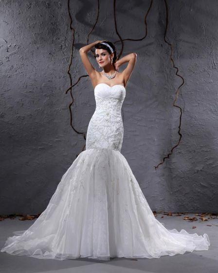 Yarn Sweetheart Applique Chapel Mermaid Bridal Gown Wedding Dresses