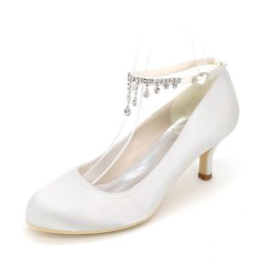 Classy White Wedding Shoes 2020 Satin Rhinestone Ankle Strap 6 cm Stiletto Heels Pointed Toe Wedding Pumps