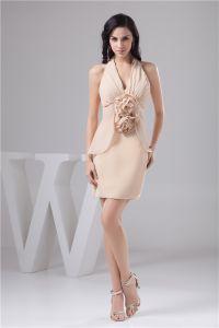Charming Fit Halter V Neck Ruffle Handmade Flower Short Party Dress