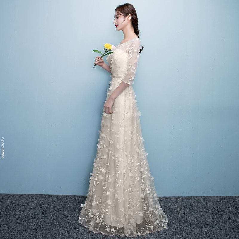 Chic / Beautiful Evening Dresses  Evening Party 2017 Scoop Neck 1/2 Sleeves Lace Appliques Champagne Floor-Length / Long A-Line / Princess
