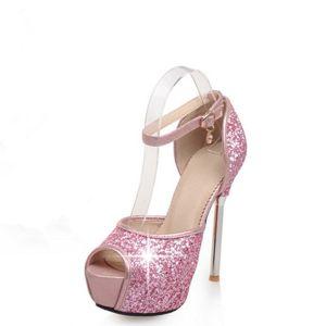 Sparkly Prom Pumps 2017 PU Glitter Platform High Heel Open / Peep Toe Pumps