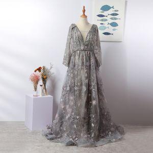 Luxury / Gorgeous Grey Handmade  Beading Evening Dresses  2020 A-Line / Princess Deep V-Neck Crystal Rhinestone Lace Flower Long Sleeve Sweep Train Formal Dresses
