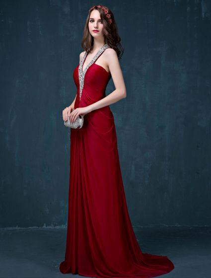 A-line Beading Sequins Halter V-neck Backless Ruffle Charmeuse Evening Dress