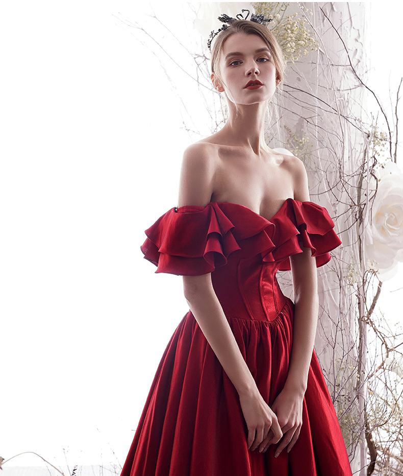 Élégant Bordeaux Robe De Soirée 2019 Princesse De l'épaule Volants Manches Courtes Dos Nu Longue Robe De Ceremonie