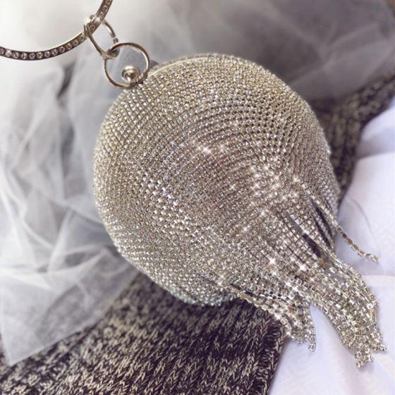 Glitter Zilveren Rhinestone Kwast Handtassen 2020