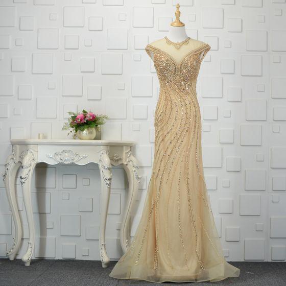Luksusowe Szampan Wykonany Ręcznie Frezowanie Sukienki Wieczorowe Syrena / Rozkloszowane 2019 Kryształ Cekiny Perła Rhinestone Wycięciem Bez Rękawów Trenem Sweep Sukienki Wizytowe