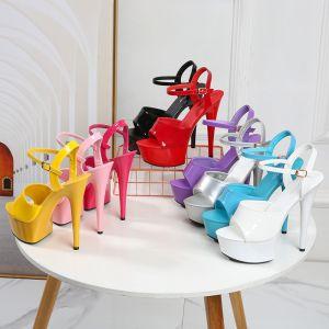 Sexy Black Rave Club Womens Sandals 2020 Ankle Strap 15 cm Stiletto Heels Open / Peep Toe Sandals