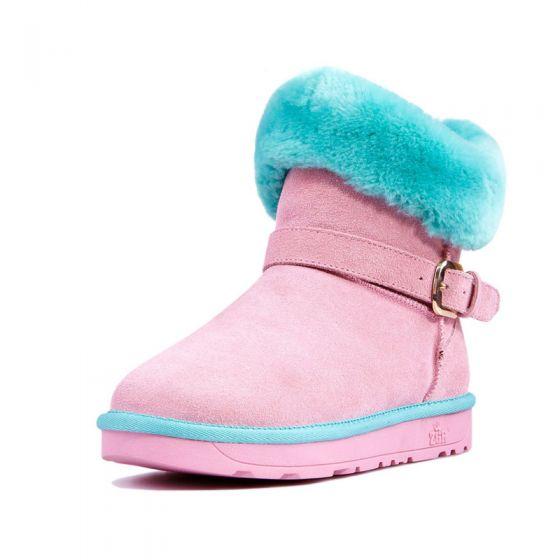 0e58c4691224 Mode Vinterstøvler 2017 Perle Pink Læder Støvletter   Ankelstøvler Suede  Spænde Casual Vinter Flade Støvler Dame