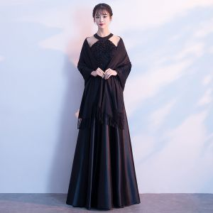 Modern / Fashion Black Floor-Length / Long Evening Dresses  2018 A-Line / Princess With Shawl Charmeuse Striped Evening Party Formal Dresses