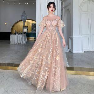 Illusion Champagne Genomskinliga Aftonklänningar 2020 Prinsessa Urringning Korta ärm Appliqués Stjärna Paljetter Långa Ruffle Formella Klänningar