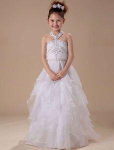 White A-line Halter Satin Floor Length Flower Girl Dress
