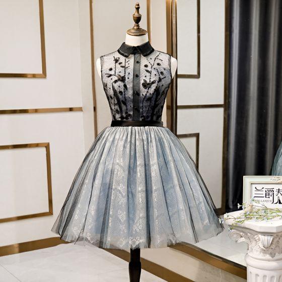 Fashion Black Homecoming Graduation Dresses 2020 A-Line / Princess Scoop Neck Sequins Lace Flower Sleeveless Knee-Length Formal Dresses