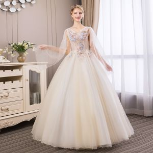 Affordable Champagne Prom Dresses 2018 Ball Gown Lace Flower Pearl Rhinestone V-Neck Backless Sleeveless Floor-Length / Long Formal Dresses