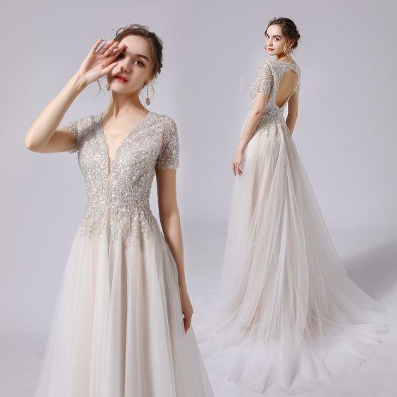 Charming Champagne Wedding Dresses 2021 A-Line / Princess Beading Crystal Sequins Deep V-Neck Short Sleeve Backless Sweep Train Wedding