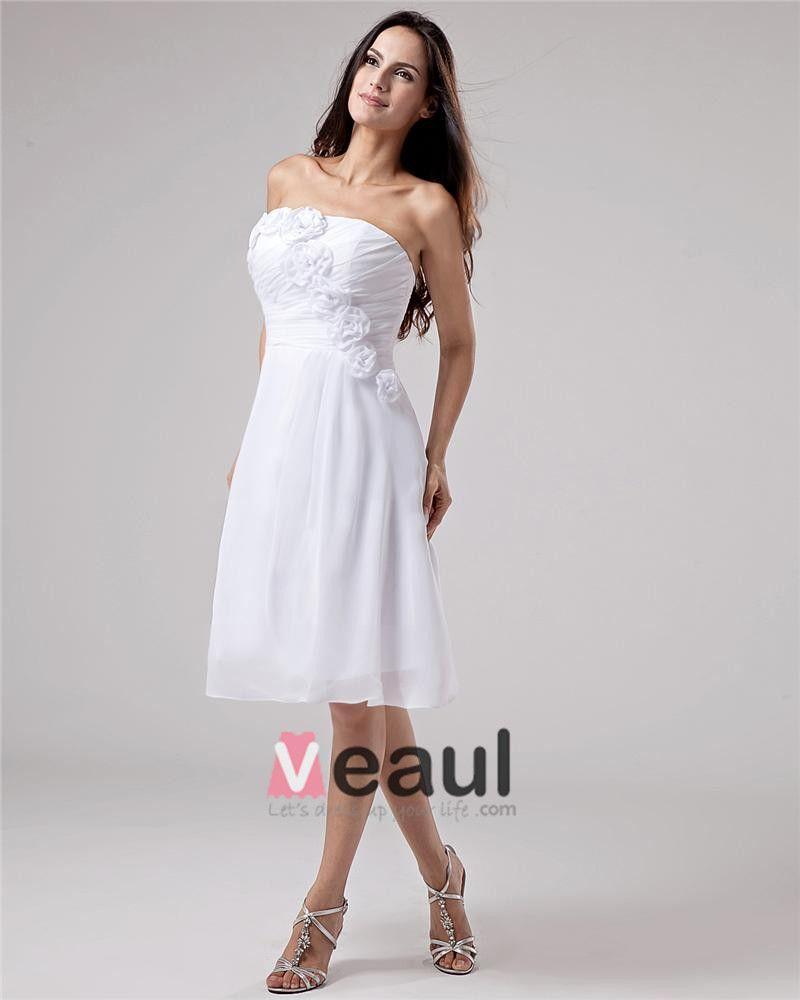 Mousseline De Soie Fleur Bretelles A Volants Robe De Graduation De Longueur Genou