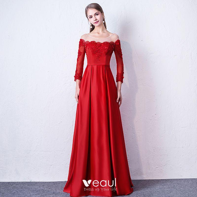 a3e3e83fe Hermoso Rojo Vestidos de noche 2019 A-Line   Princess Scoop Escote Apliques  Rebordear Con Encaje Flor ...
