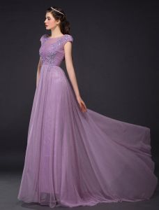 Elegant Evening Dresses 2016 A-line Cap Sleeves Glitter Lilac Tulle Beading Rhinestones Long Dress