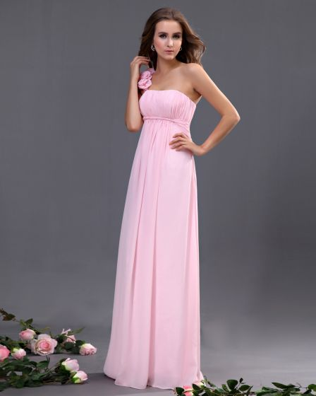 Chiffon One Shoulder Ruffle Floor Length Bridesmaid Dresses