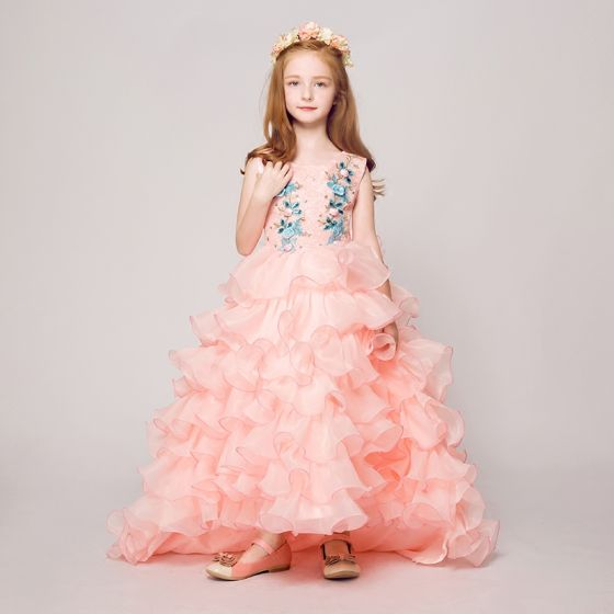 Chic / Beautiful Pearl Pink Flower Girl Dresses 2017 Ball Gown Scoop Neck Sleeveless Appliques Lace Rhinestone Court Train Cascading Ruffles Wedding Party Dresses