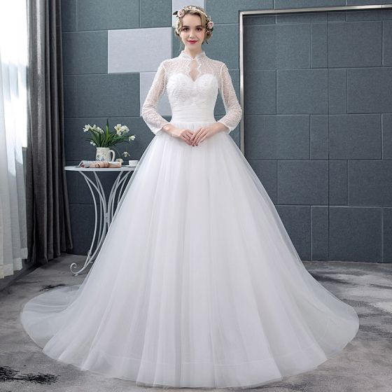 asequible blanco transparentes vestidos de novia 2018 ball gown