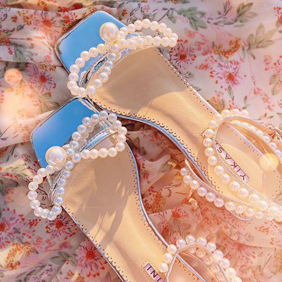 Sexy Summer Silver Dancing Womens Sandals 2020 Leather Pearl Ankle Strap 5 cm Thick Heels Open / Peep Toe Sandals