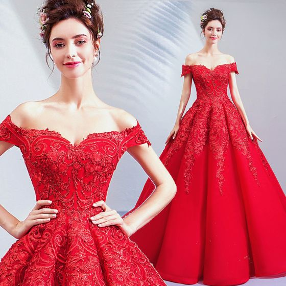 Affordable Red Wedding Dresses 2019 A-Line / Princess Off-The-Shoulder Sequins Lace Flower Short Sleeve Backless Floor-Length / Long
