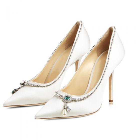 Moda Marfil Seda Satén Rhinestone Zapatos de novia 2021 9 cm Stilettos / Tacones De Aguja Punta Estrecha Boda Tacones High Heels