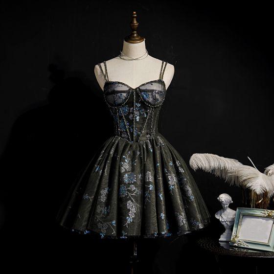 Best Black Cocktail Dresses 2020 Ball Gown Spaghetti Straps Sleeveless Beading Sequins Short Ruffle Backless Formal Dresses