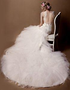2015 Shoulders Deep V-neck Lace Trumpet Mermaid Cathedral Train Wedding Dress