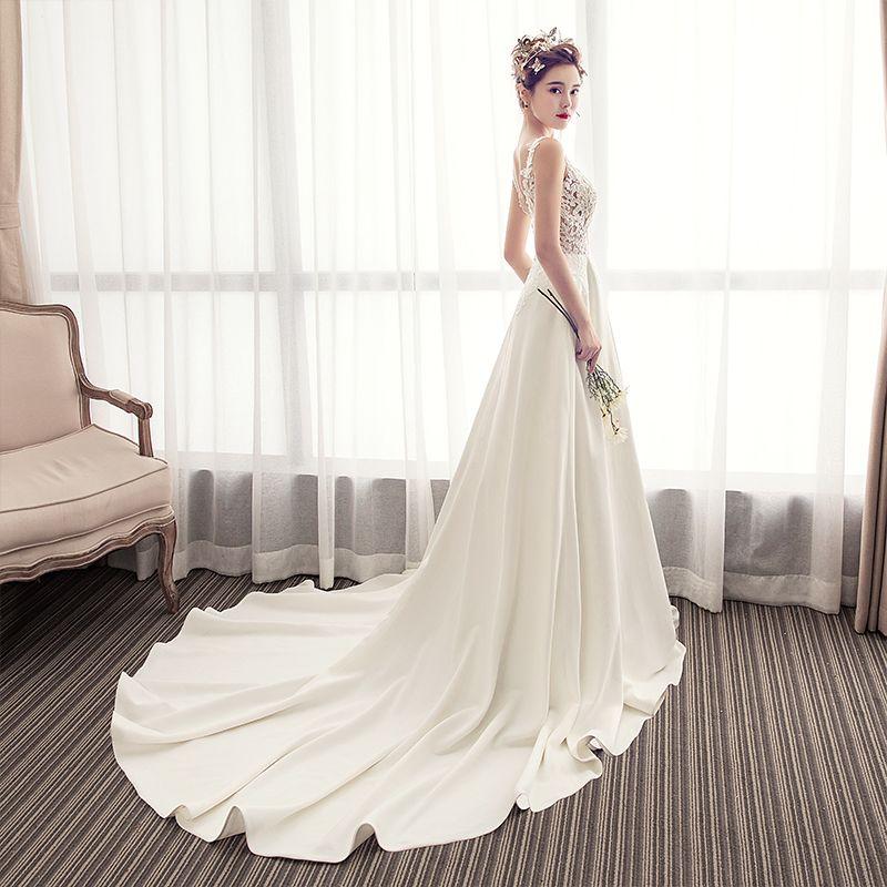 Charming Ivory Wedding Dresses 2019 A-Line / Princess V-Neck Lace Flower Sleeveless Backless Chapel Train