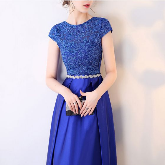Affordable Royal Blue Evening Dresses  2017 Short Sleeve Beading Rhinestone Sash Ruffle Satin Formal Dresses