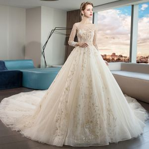 Elegant Champagne See-through Wedding Dresses 2019 A-Line / Princess Scoop Neck Long Sleeve Backless Crystal Beading Appliques Lace Cathedral Train Ruffle