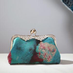 Vintage Chinesischer Stil Grün Quadratische Clutch Tasche 2020 Metall Strass Drucken Blumen Polyester