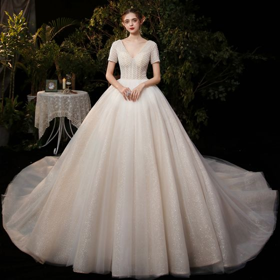 Affordable Champagne Bridal Wedding Dresses 2020 Ball Gown V-Neck Short Sleeve Backless Beading Pearl Glitter Tulle Cathedral Train Ruffle