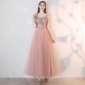 Chic / Beautiful Nude Prom Dresses 2018 A-Line / Princess Lace Appliques Pearl Rhinestone Off-The-Shoulder Backless Sleeveless Ankle Length Formal Dresses