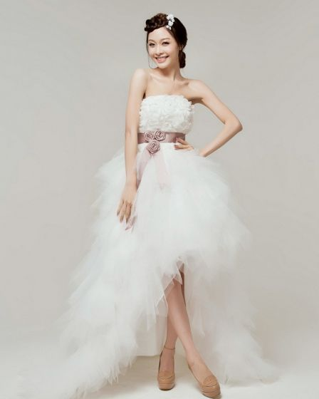 Satin Tulle Lace Beading Flower Strapless Tiered Asymmetrical Length High Low Mini Wedding Dress