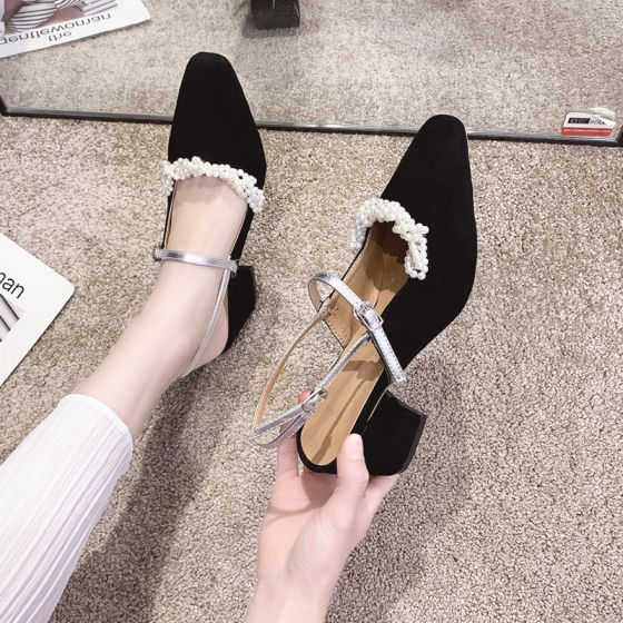 Elegante Zwarte Afspraak Parel Slingbacks Sandalen Dames 2020 Suede 6 cm Dikke Hak Vierkante Teen Sandalen