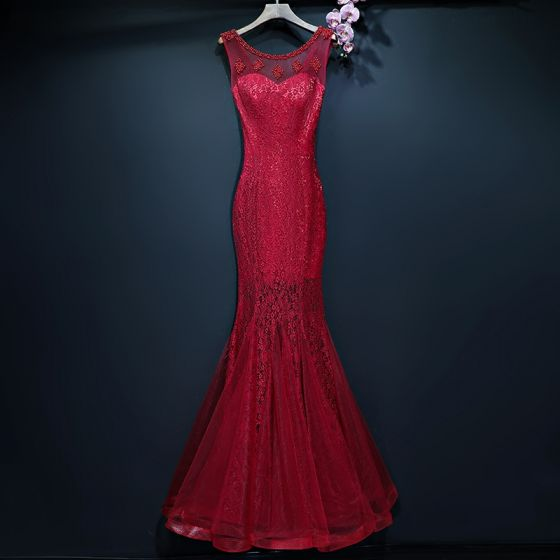 Chic / Beautiful Red Evening Dresses  2017 Trumpet / Mermaid Lace Sequins Beading Scoop Neck Backless Sleeveless Floor-Length / Long Formal Dresses