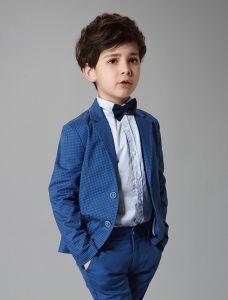 Jungen Hochzeit Anzüge 2017 Blau Speckle 3 Sätze