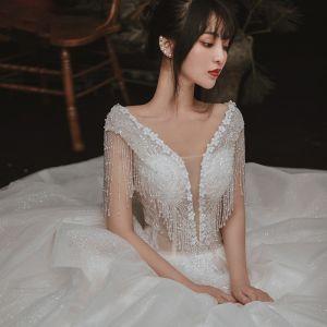 Elegant Ivory Outdoor / Garden Wedding Dresses 2020 Ball Gown See-through Deep V-Neck Sleeveless Backless Appliques Flower Pearl Beading Tassel Glitter Tulle Floor-Length / Long Ruffle
