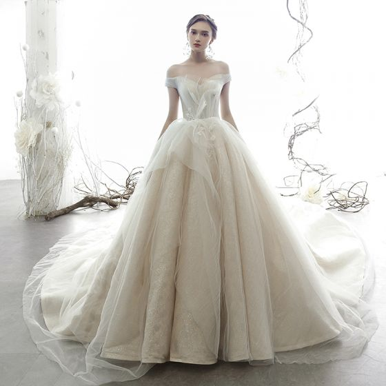 Best Champagne Wedding Dresses 2019 Ball Gown Off-The-Shoulder Short Sleeve Backless Glitter Tulle Cathedral Train Ruffle