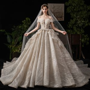 Luxury / Gorgeous Champagne Wedding Dresses 2019 Ball Gown Off-The-Shoulder Beading Sequins Short Sleeve Backless Royal Train