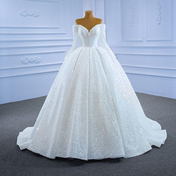 Luxus Ivory Brudekjoler 2021 Balkjole Tassel Perle Off-The-Shoulder Beading Pailletter Langærmet Halterneck Retten Tog Bryllup