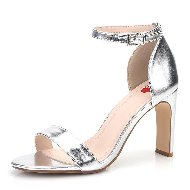 Modest / Simple Silver Casual Womens Sandals 2020 Ankle Strap 9 cm Thick Heels Open / Peep Toe Sandals