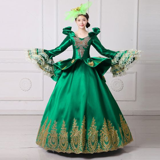 Vintage / Retro Medieval Dark Green Ball Gown Prom Dresses 2021 V-Neck Long Sleeve Floor-Length / Long 3D Lace Embroidered Flower Cosplay Prom Formal Dresses