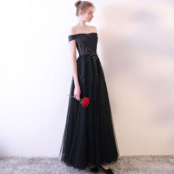 Moda Negro Vestidos de noche 2018 A-Line / Princess De Encaje Sin Tirantes Apliques Rebordear Sin Espalda Noche Vestidos Formales