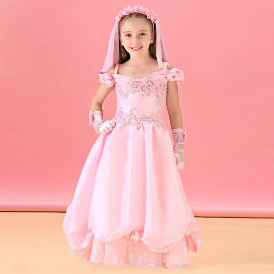 Long Pink Flower Girl Dress Princess Dress